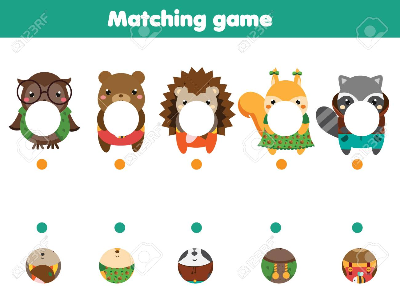 Matching Educational Game Match Parts Of Animals Activity Page Royalty Free Cliparts Vectors And Stock Illustration Image 127666539