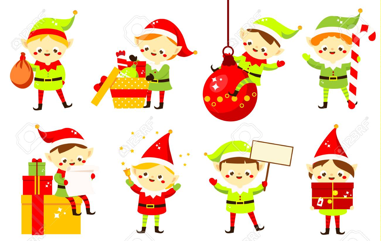 Christmas Elves.Christmas Elves Collection Of Cute Santa S Helpers Holding Gifts