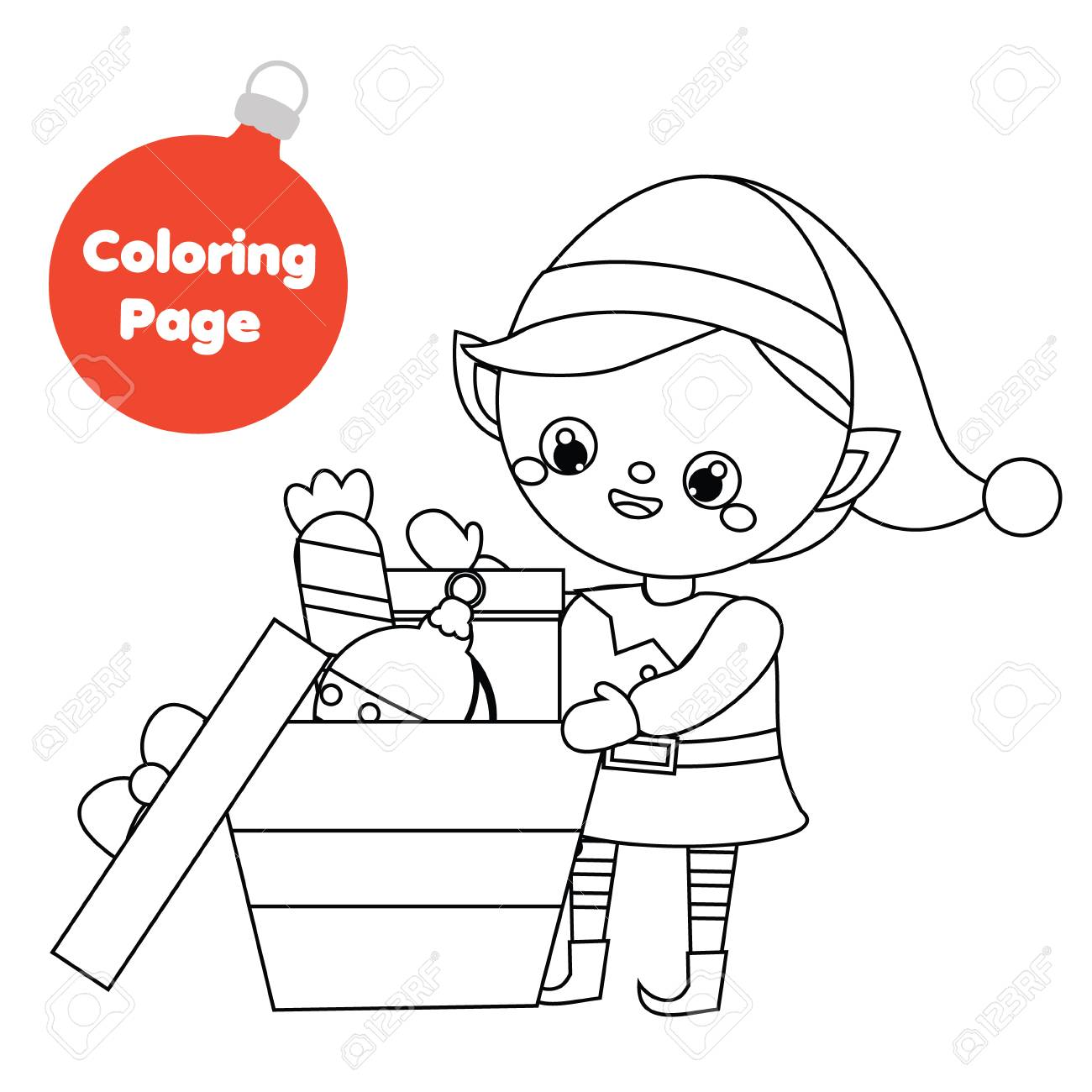 Christmas Elf coloring page | Free Printable Coloring Pages | 1300x1300