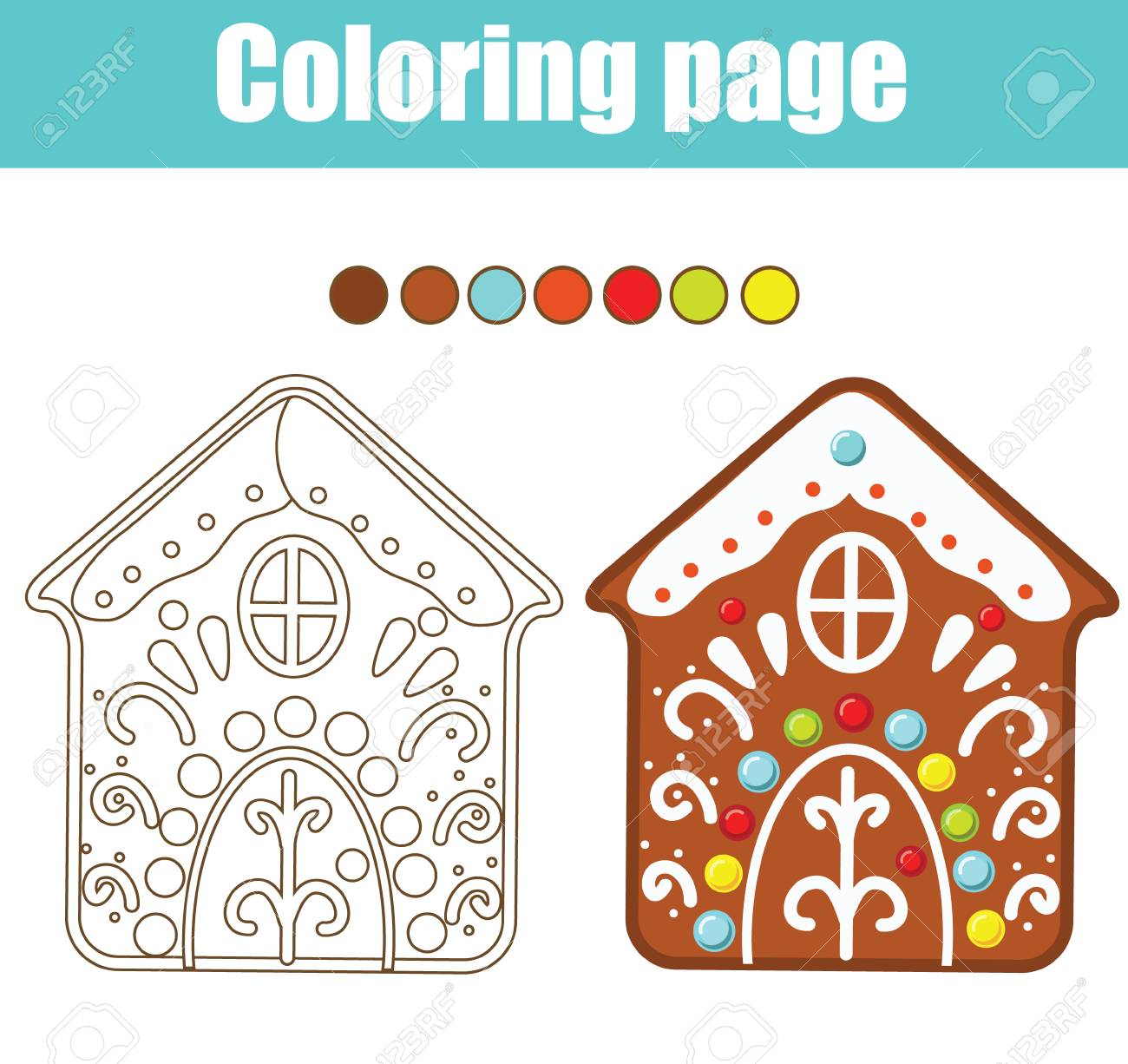 photograph about Gingerbread House Printable identified as Coloring website page. Enlightening youngsters sport. Coloration gingerbread Area..