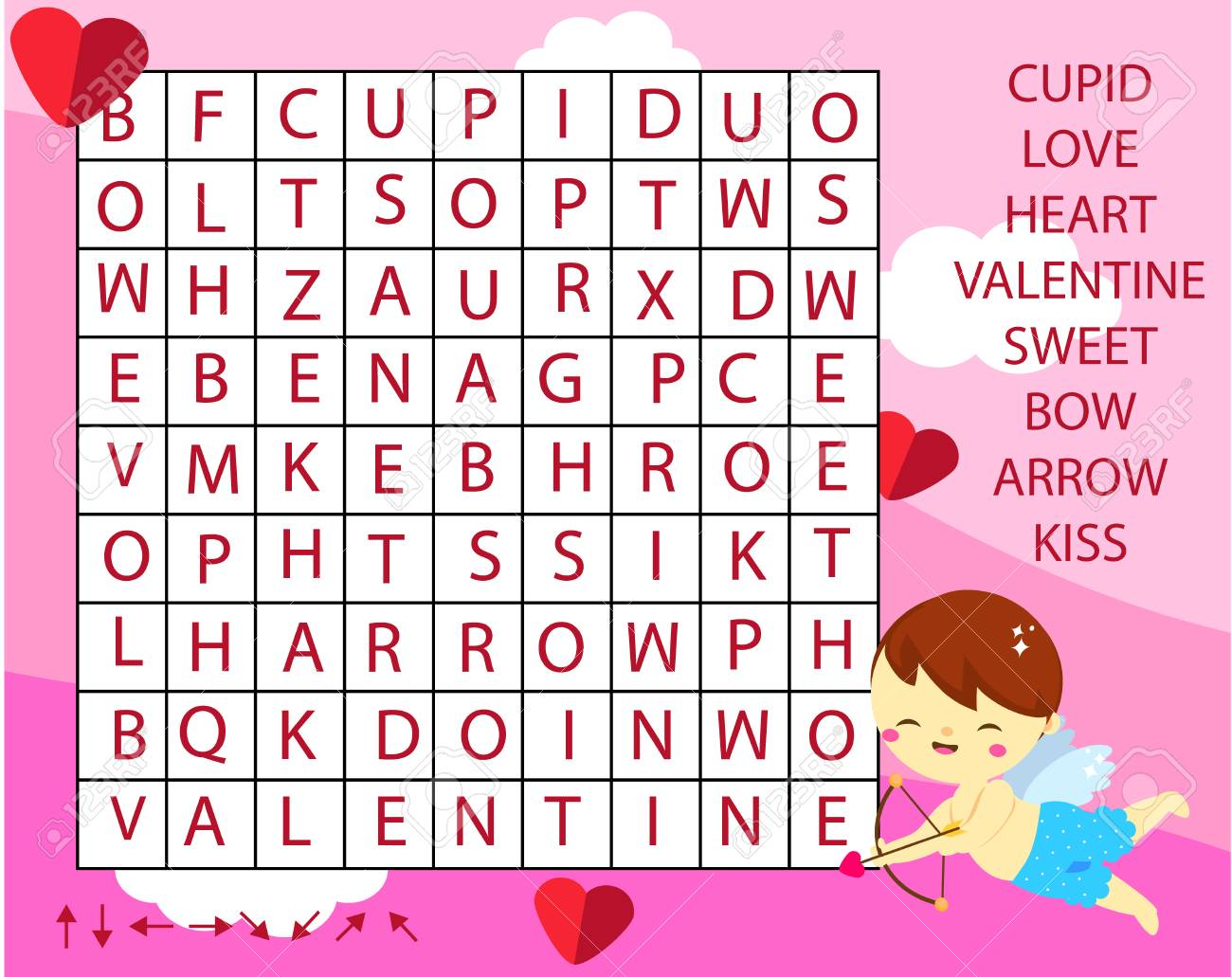 Educational game for children. Word search puzzle kids activity. St Valentines day theme theme learning vocabulary. - 115866199