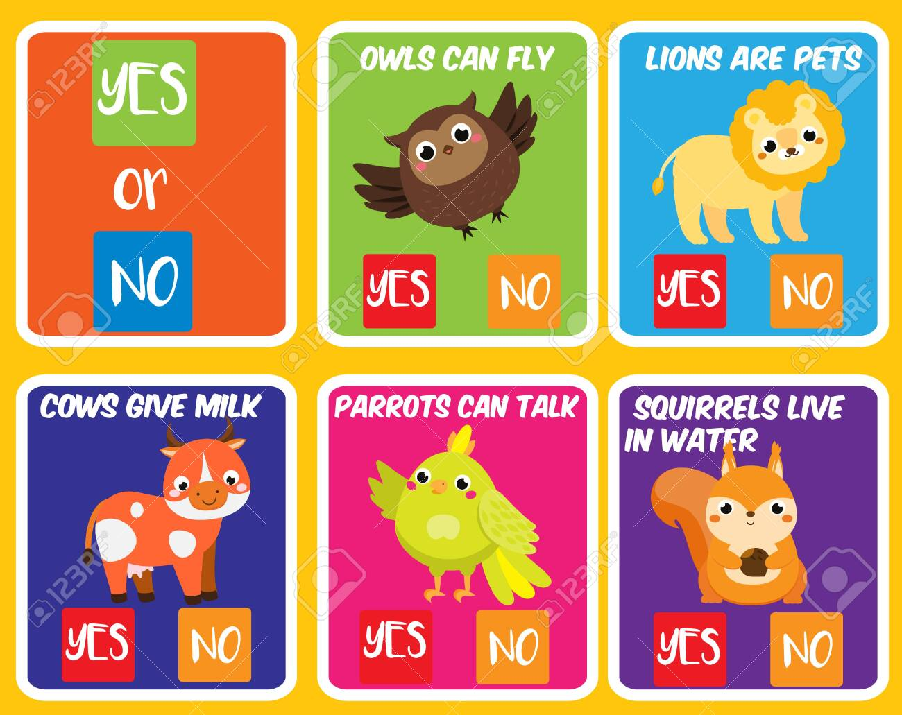 Educational children game. Yes or no. Animals theme fun page..