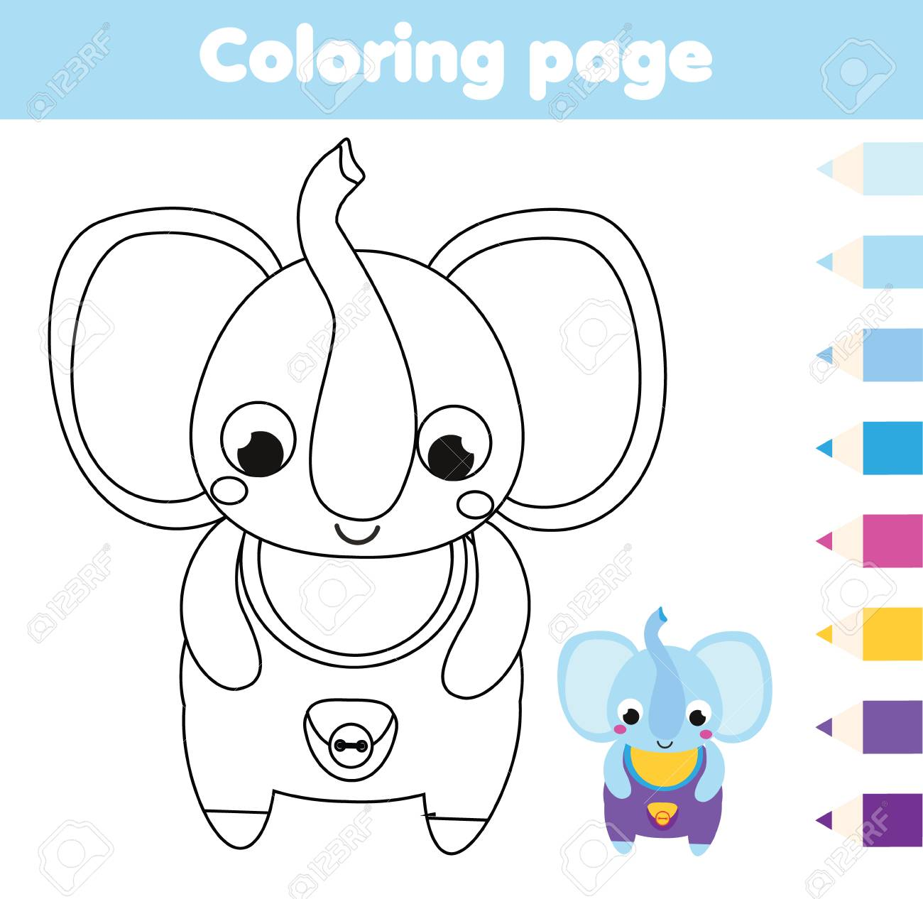 Coloring page with elephant. Drawing kids activity. Printable..