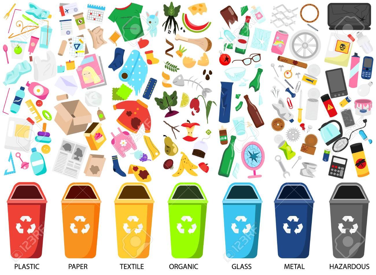 Waste sorting. Big collection of garbage types. Organic, paper, metal, hazardous, textile, glass, plastic trash icons, bins - 122279262