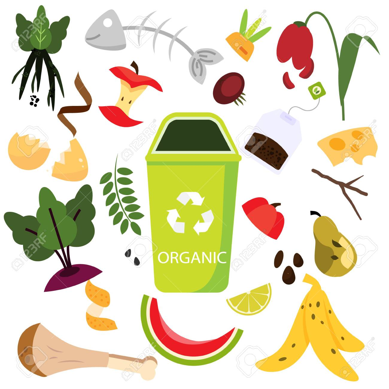Waste sorting. Organic garbage. Food, natural, bones and other trash icons. - 123965812