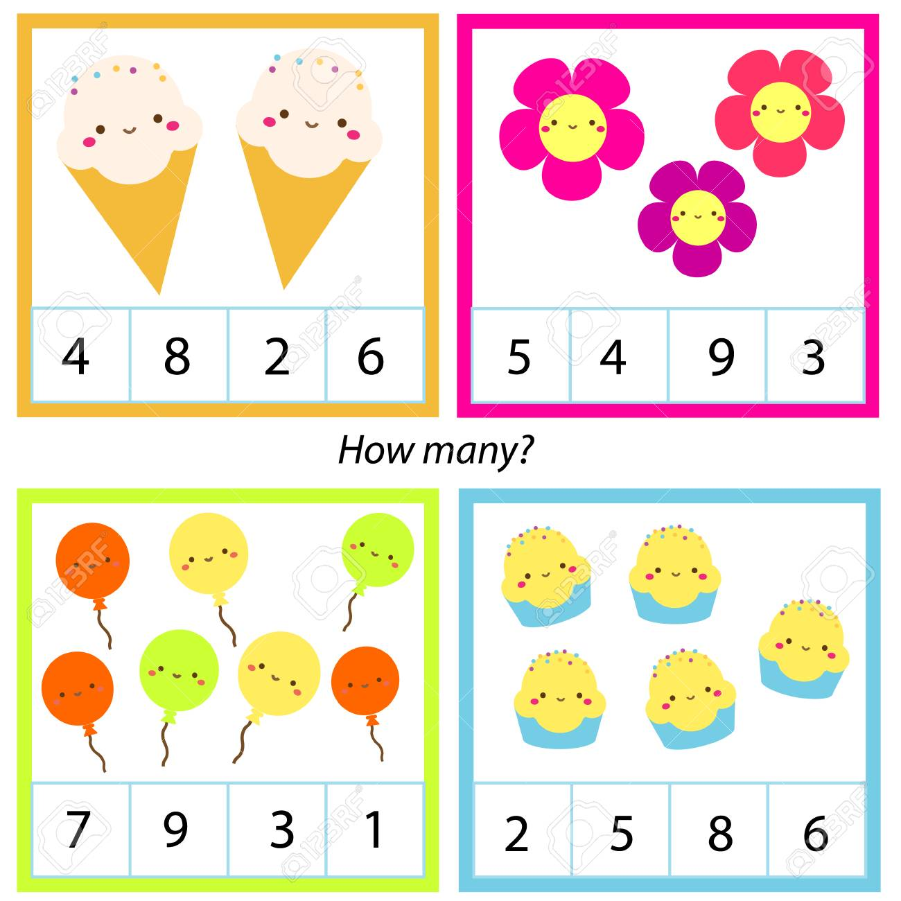 Counting educational children game. Mathematics activity for..