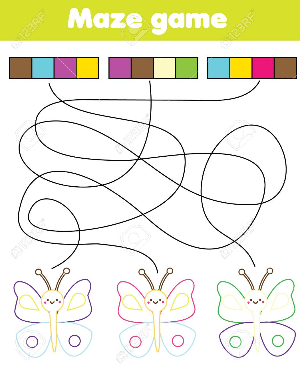 Connect The Colors >> Maze Game For Children Connect Colors And Butterflies Labyrinth