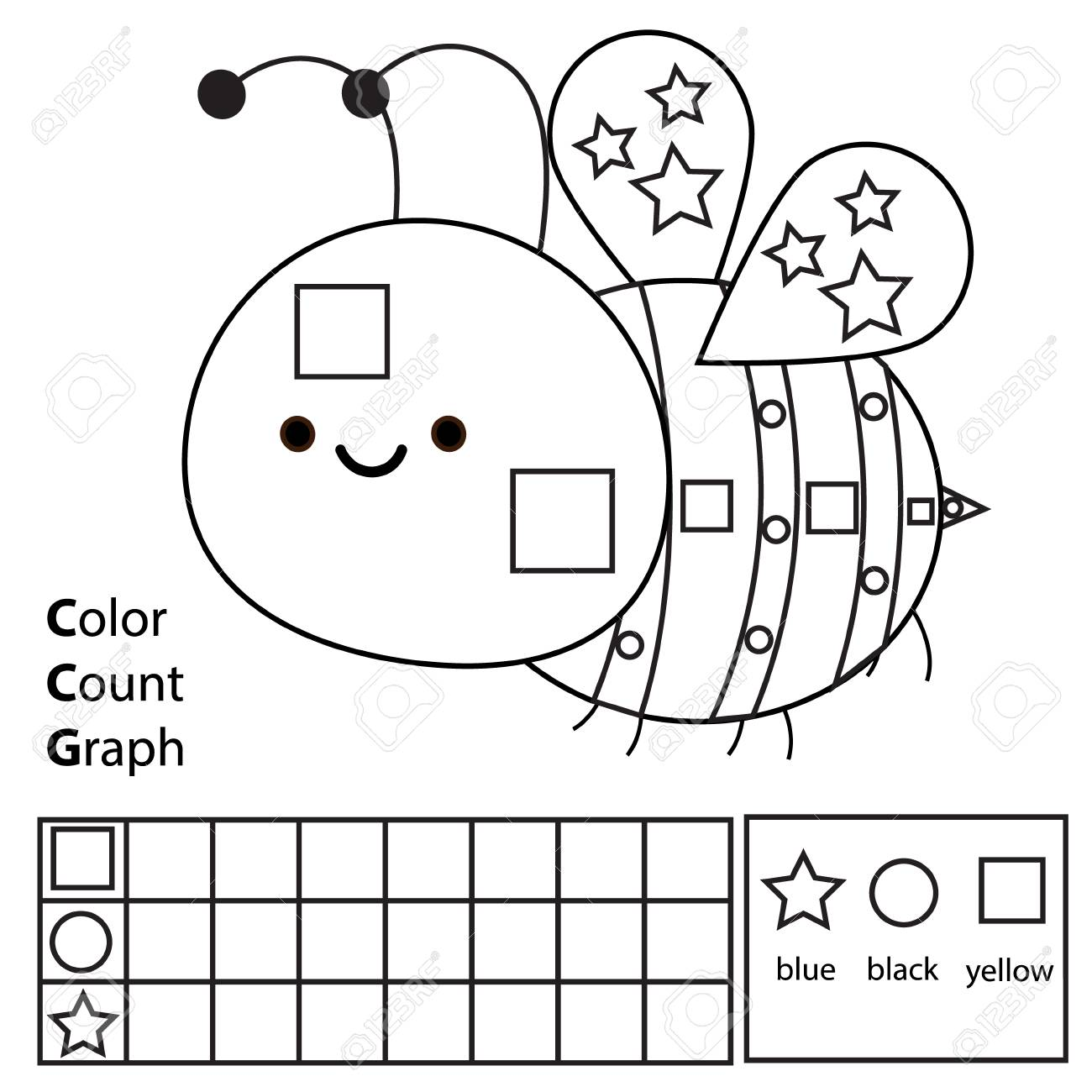 graphic about Shapes Printable named Colour, rely and graph. Enlightening little ones match. Coloration cartoon..