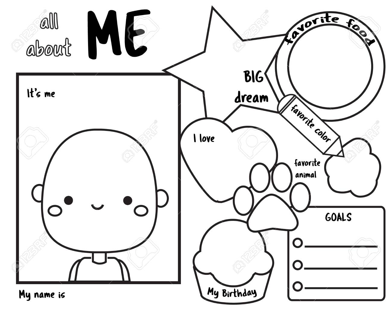 This is a photo of Printable All About Me with regard to sample