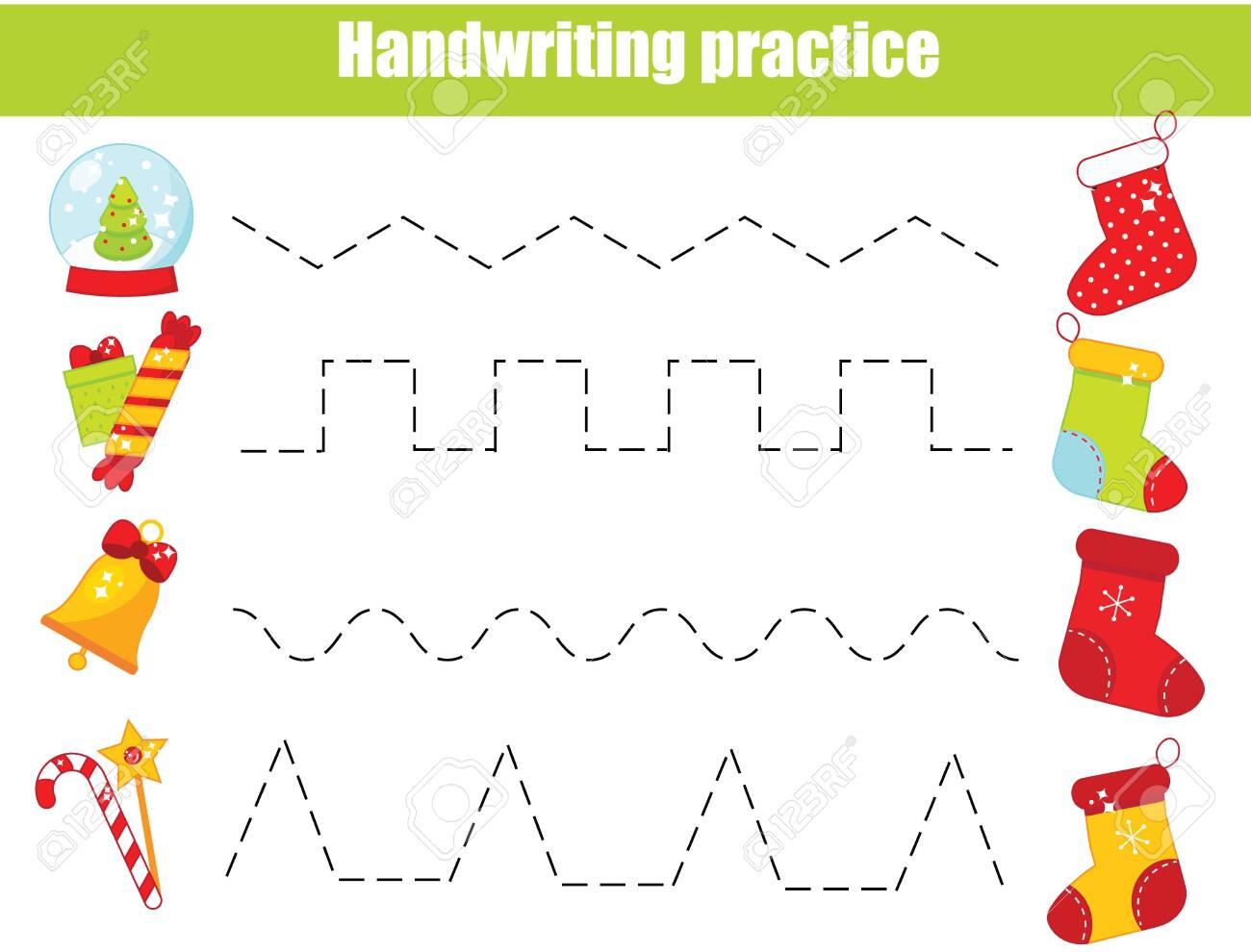 Put gifts in Christmas stockings. handwriting practice sheet...