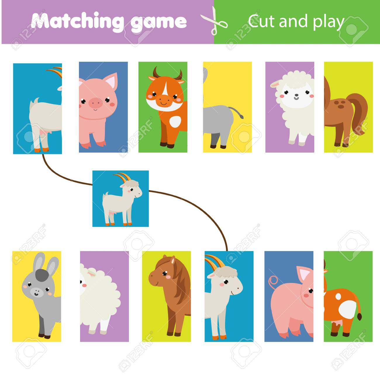 Matching Children Educational Game Match Parts Of Farm Animals Royalty Free Cliparts Vectors And Stock Illustration Image 140201185