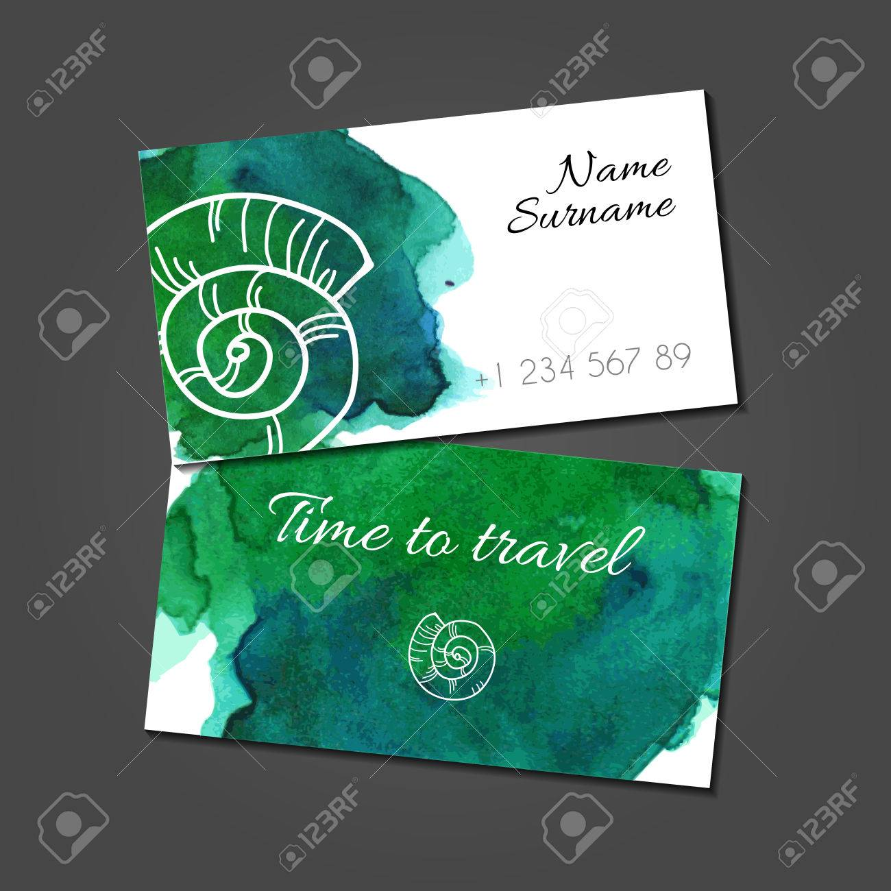 business card template with stylized illustration of seashell