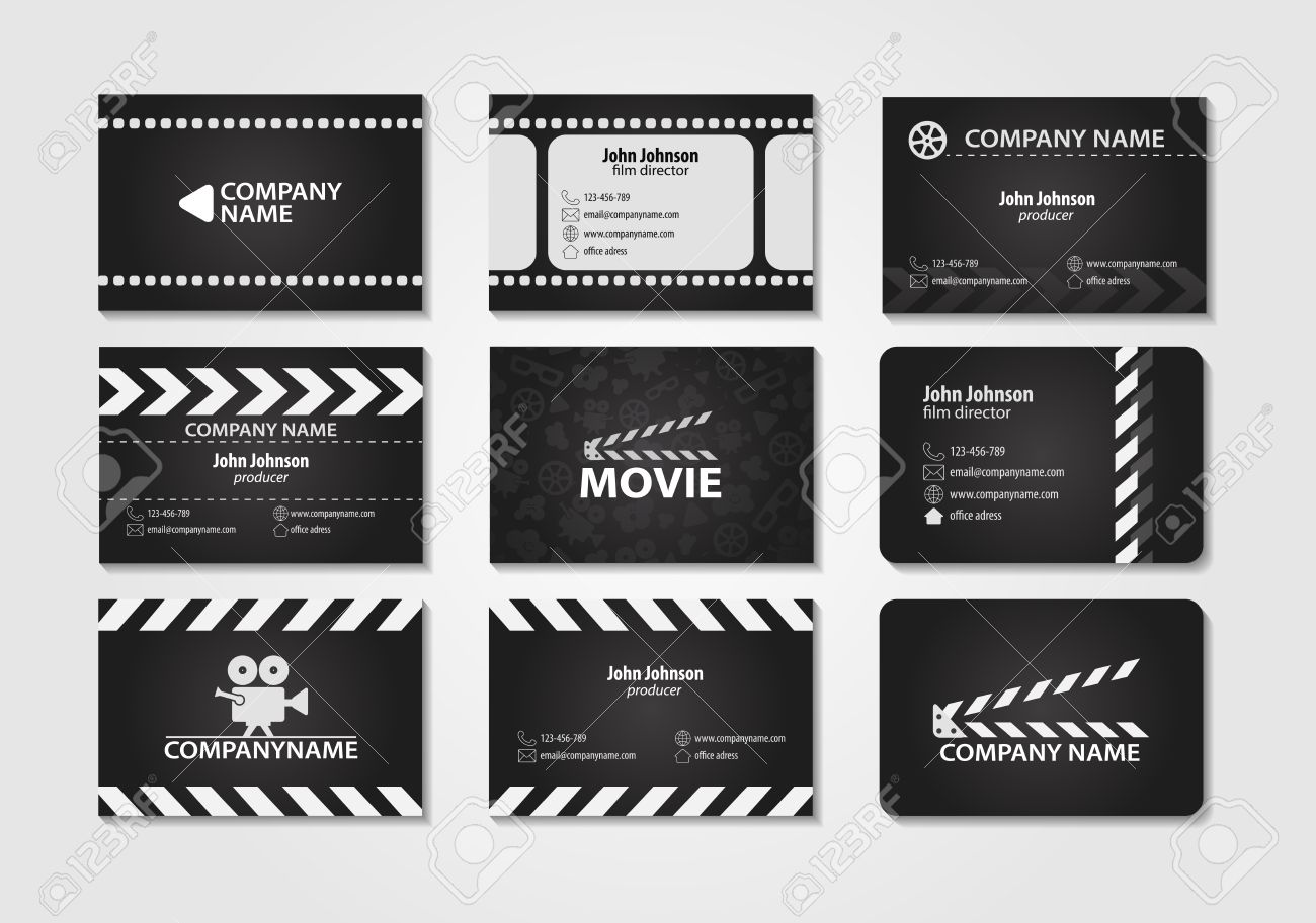vector set of creative business cards cards for movie film