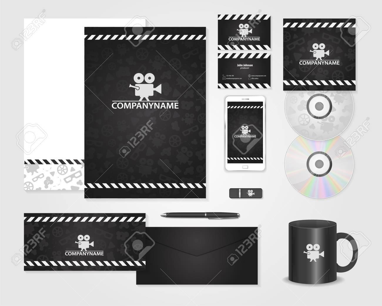 Schwarz Corporate Identity Vorlage Für Produzenten. Karten Für Film ...