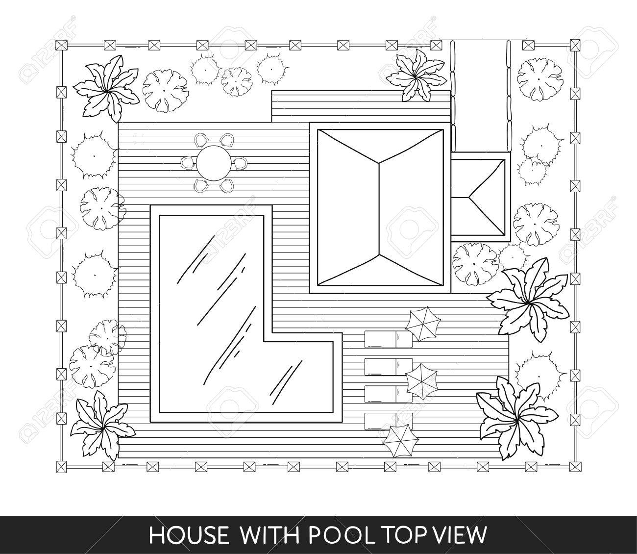 Landscape Plan Of The House With Swimming Pool Furniture And Trees In Top View Stock
