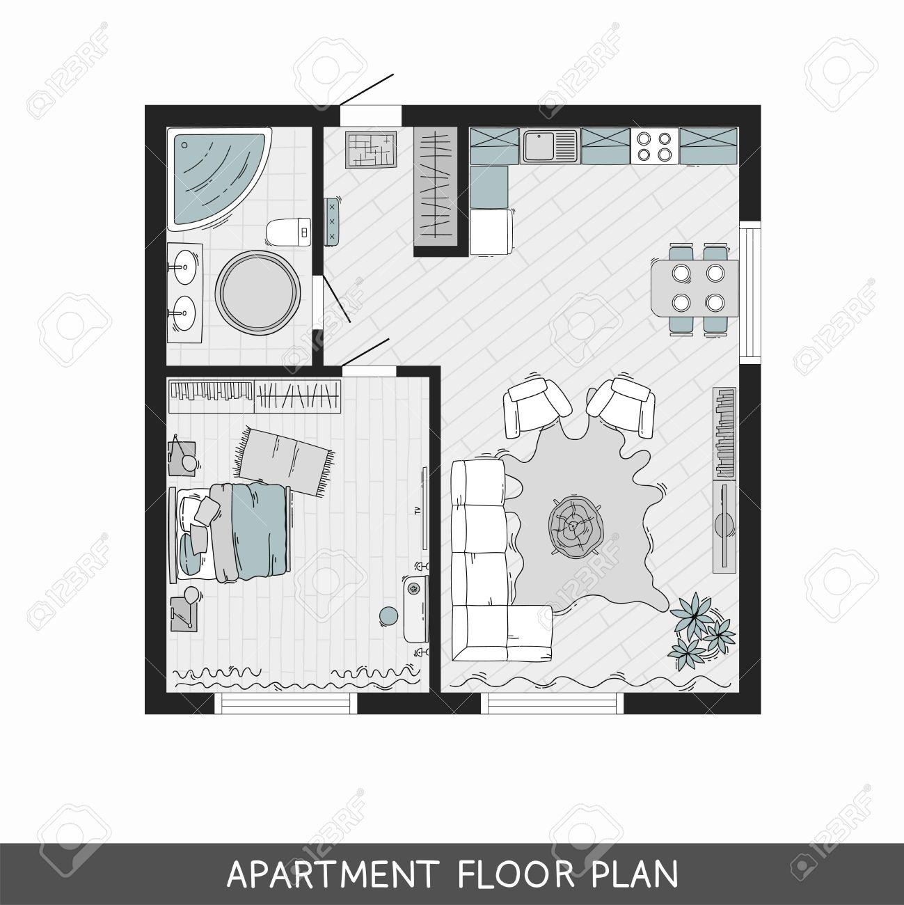 One Bedroom Apartment With Hand Drawn Furniture In Top View