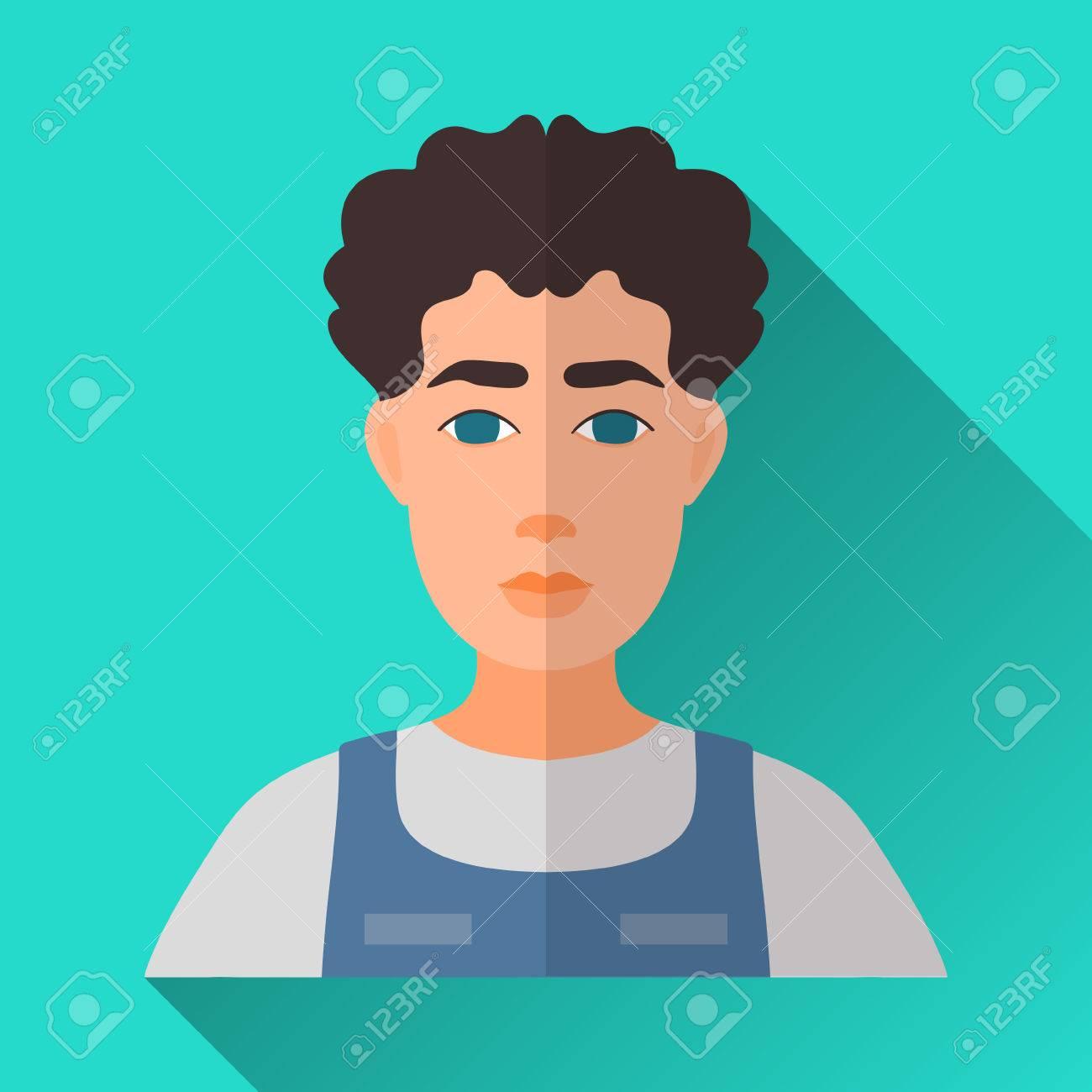 Turquoise Blue Square de style plate forme icône de personnage masculin avec l'ombre. Illustration d'un homme avec des cheveux noirs bouclés portant