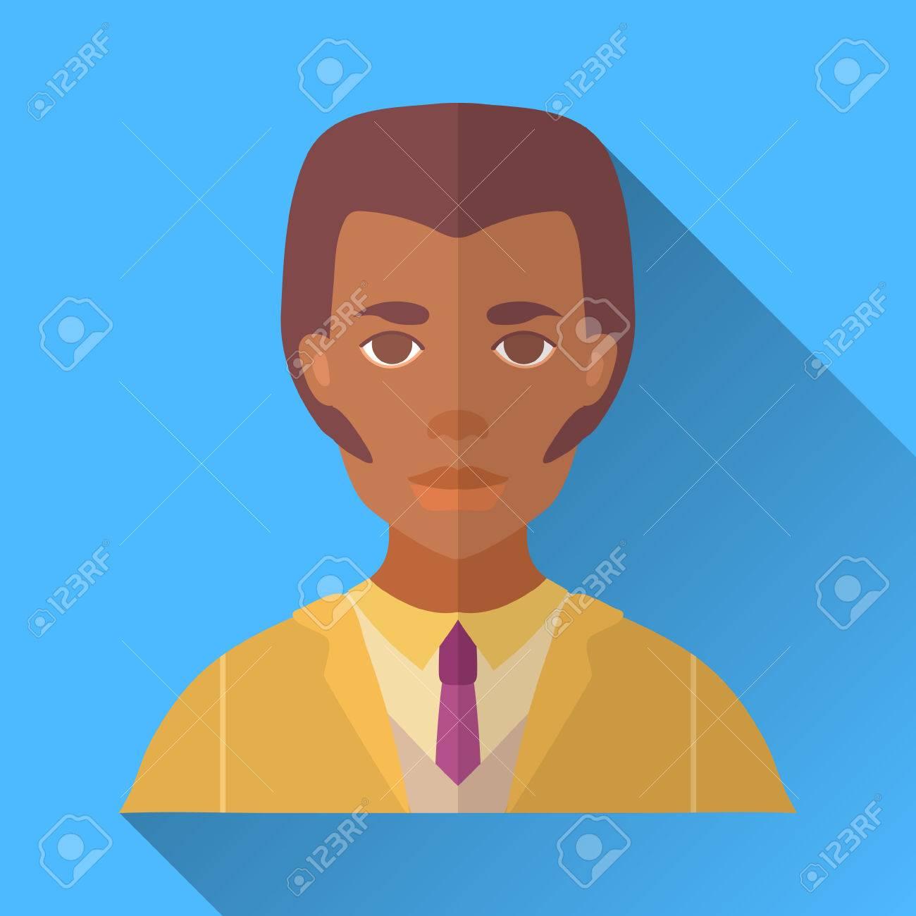 Carré bleu de style plate forme icône de personnage masculin avec l'ombre. Illustration d'un homme afro américain avec des moustaches et coupe