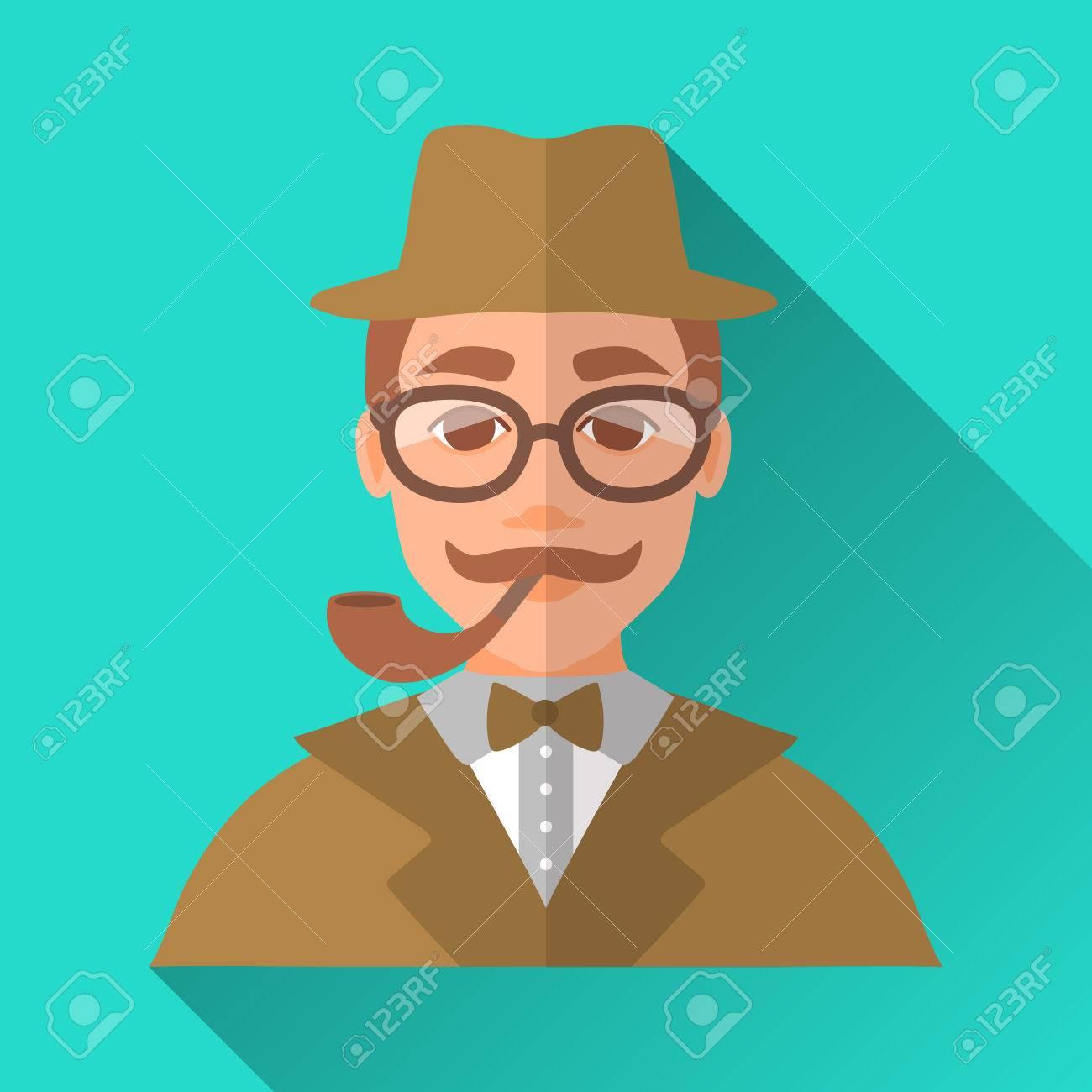 Turquoise Blue Square de style plate forme icône de personnage masculin avec l'ombre. Illustration d'un détective ou un homme de hippie avec la