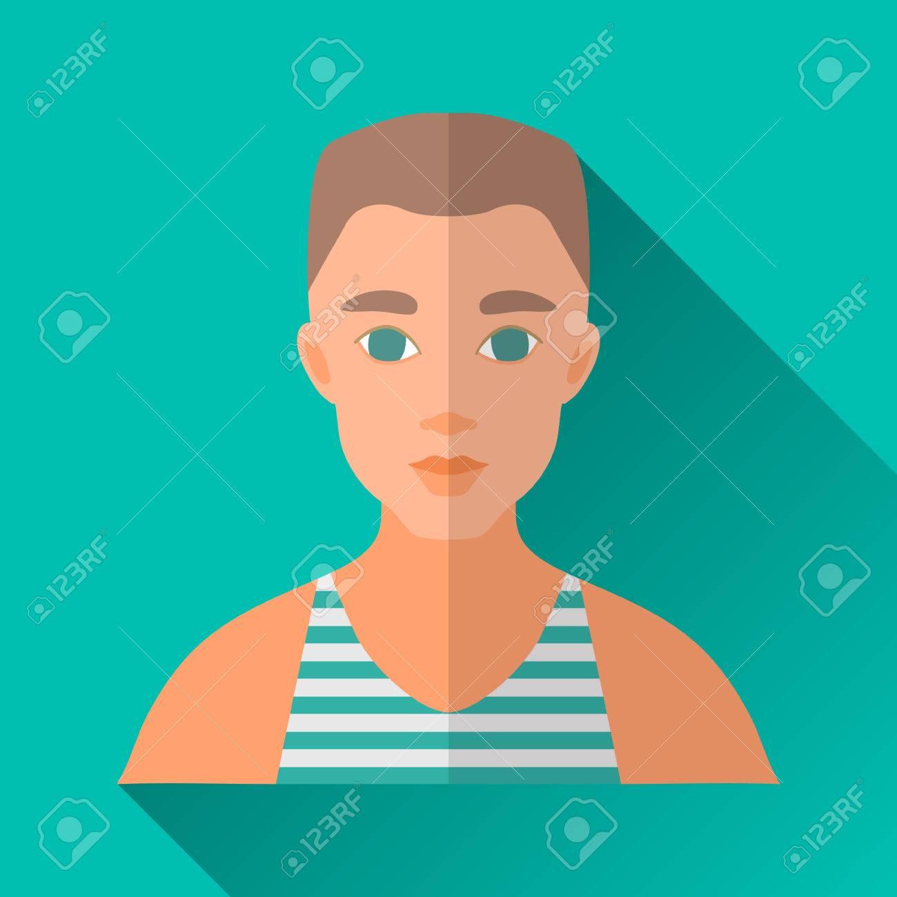Turquoise Blue Square de style plate forme icône de personnage masculin avec l'ombre. Illustration d'un jeune homme avec coupe élégante vêtue d'une