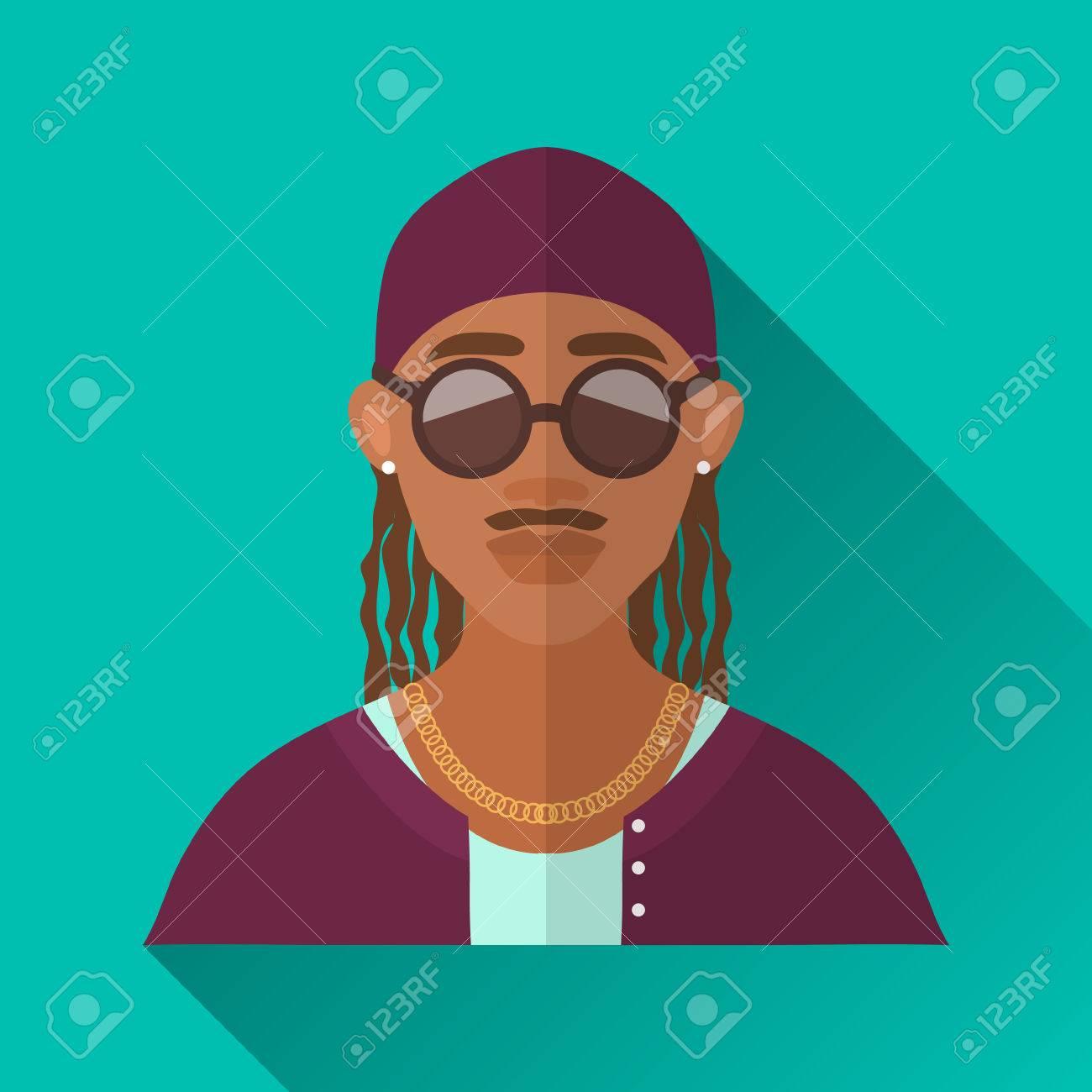 prix de la rue détaillant dernier style Turquoise Blue Square de style plate forme icône de personnage masculin  avec l'ombre. Illustration d'un homme rappeur afro-américaine avec  moustache ...