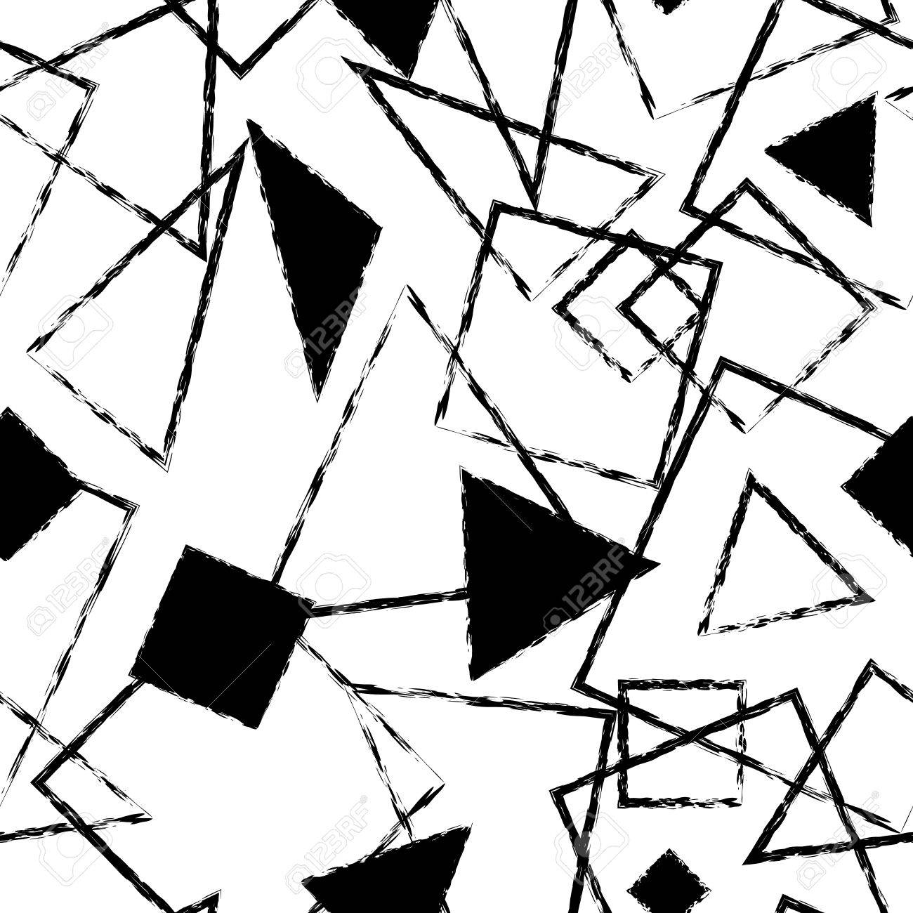 Artistic black and white monochrome seamless pattern with simple geometric shapes overlaying triangle and square