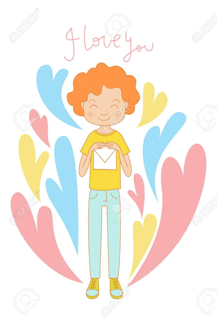young shy blushing teenage boy red curly hair in love holding vector young shy blushing teenage boy red curly hair in love holding letter declaration of love valentine s day card background smiling