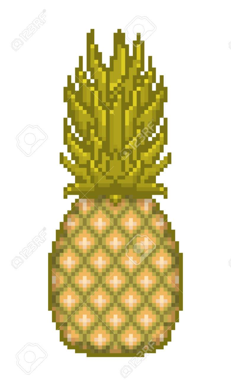 Pixel Art Pineapple Icon Isolated On White Background
