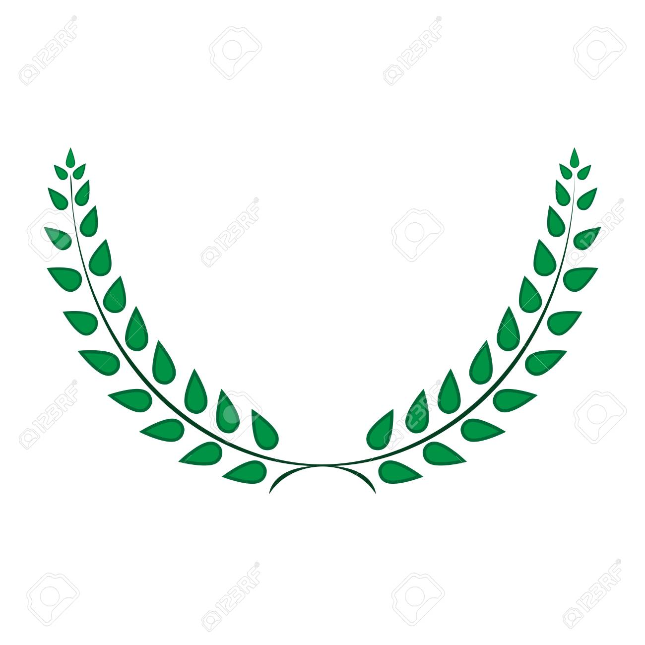 Sign Laurel Wreath Green Color Icon Isolated On White Background