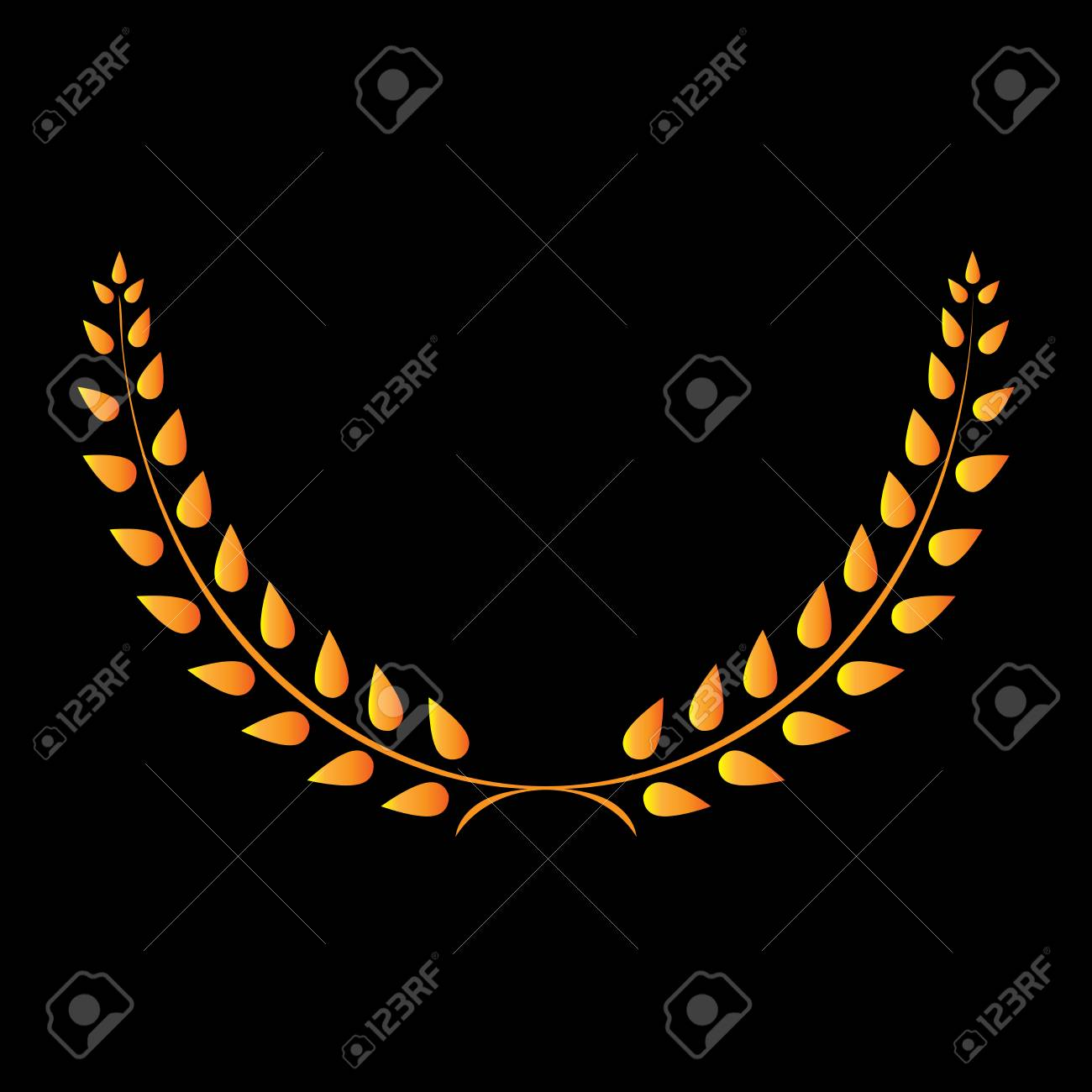 Sign Laurel Wreath Gold Golden Icon Isolated On Black Background