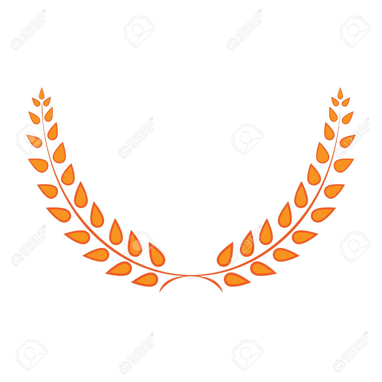 Sign Laurel Wreath Golden Gold Icon Isolated On White Background