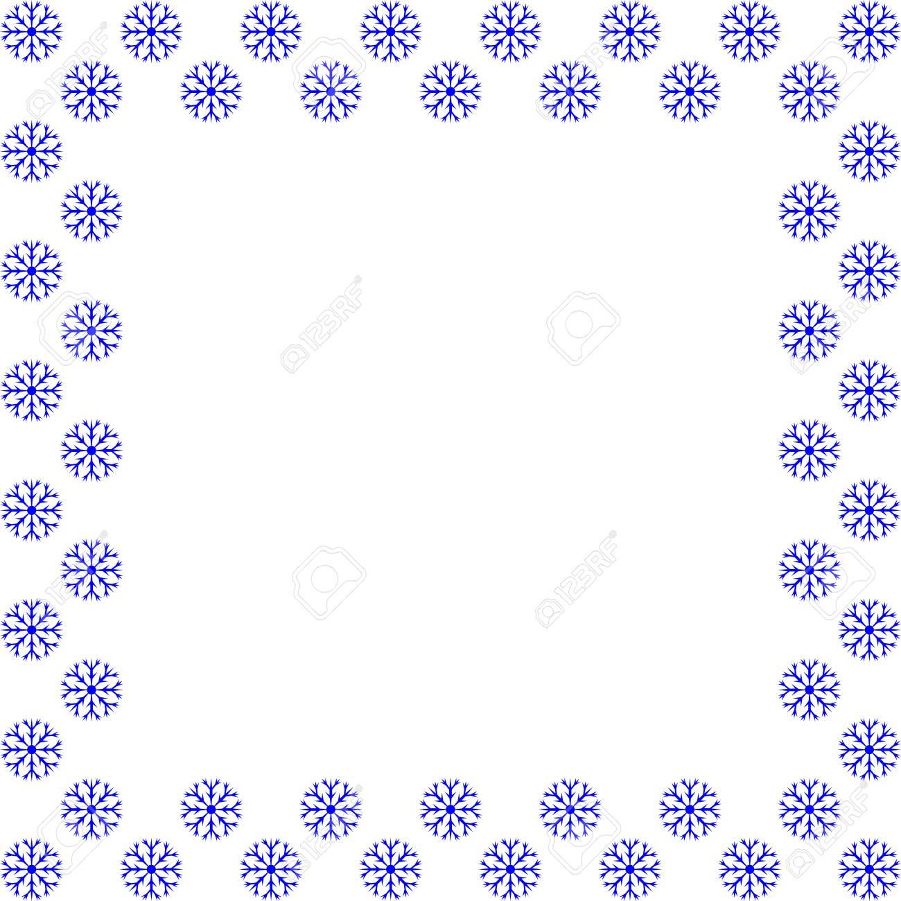 Snow Frame. Blue Framework Isolated On White Background. Decoration ...