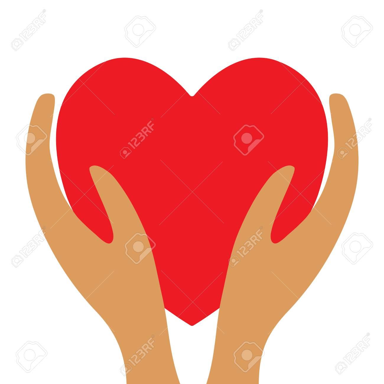 Rotes Herz Im Handzeichen. Schöne Farbikone Lokalisiert Auf Weißem ...