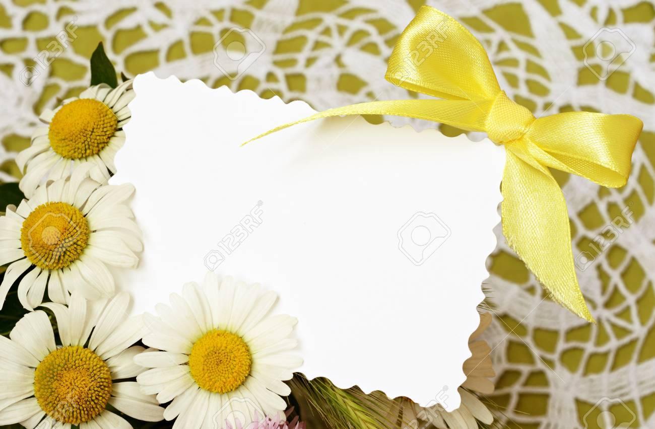 Bouquet Von Gänseblümchen Mit Einer Karte Auf Häkeln Hintergrund ...