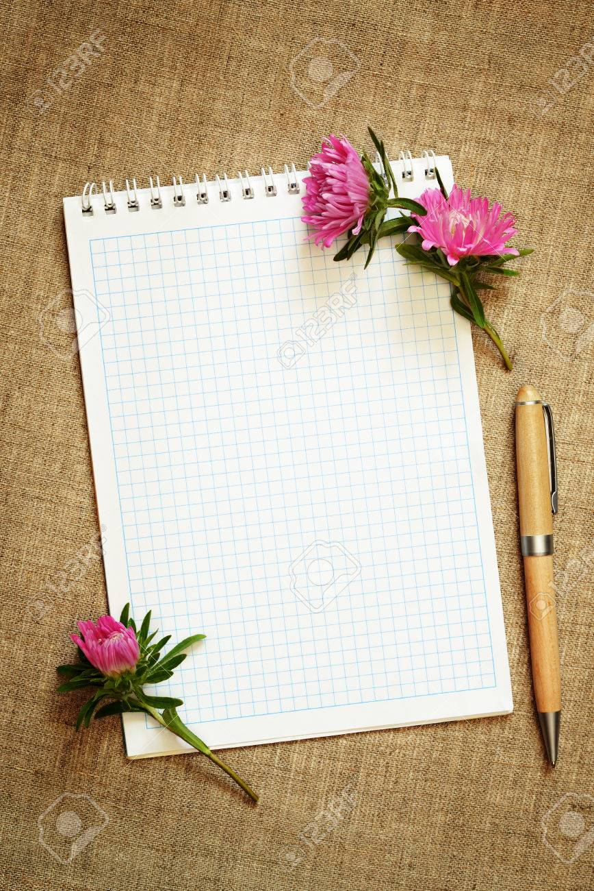 Aster Flower Buds And A Notepad On Canvas Background Stock Photo Picture And Royalty Free Image Image 22307288