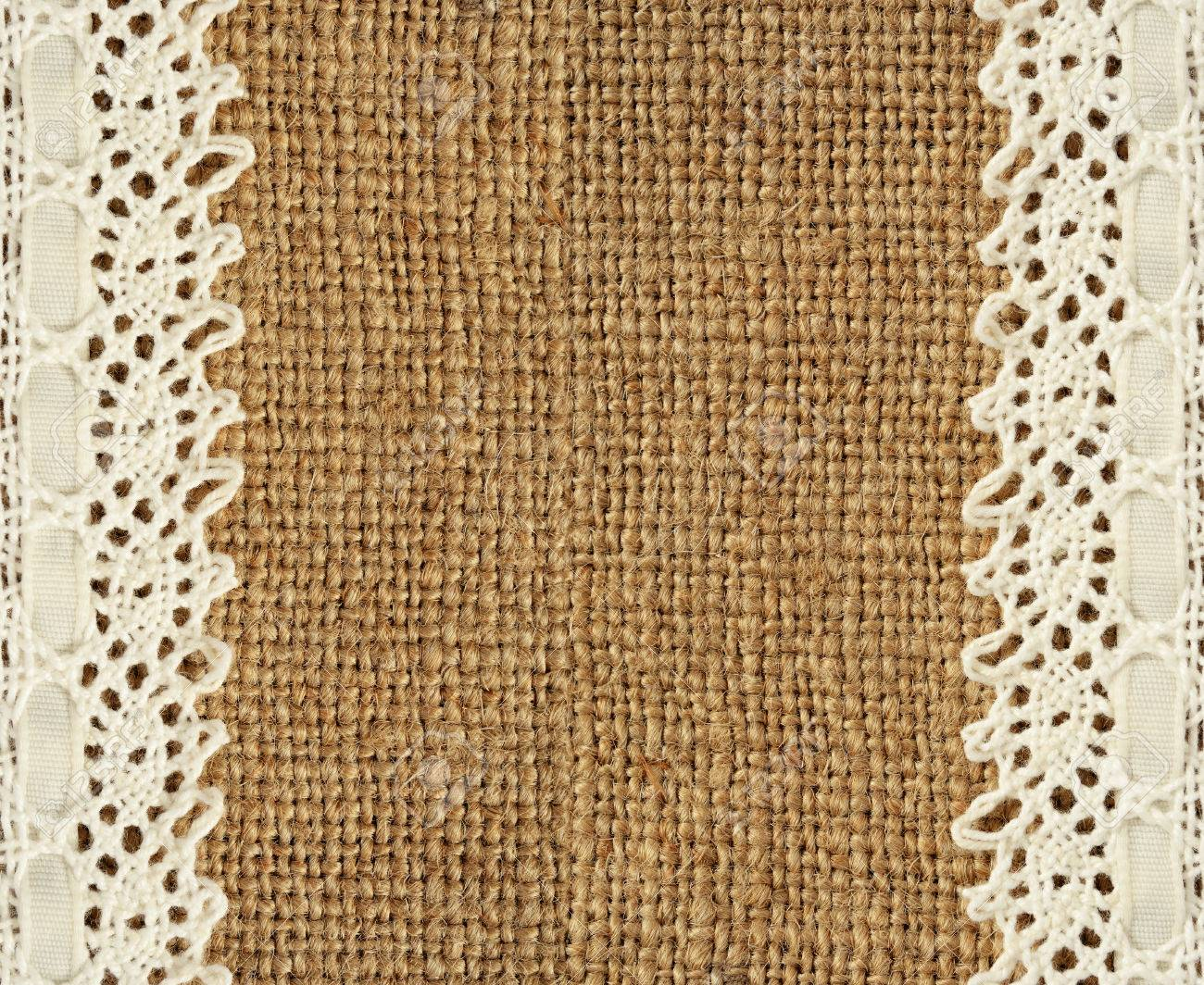 Burlap With Lace Edges For Background Stock Photo