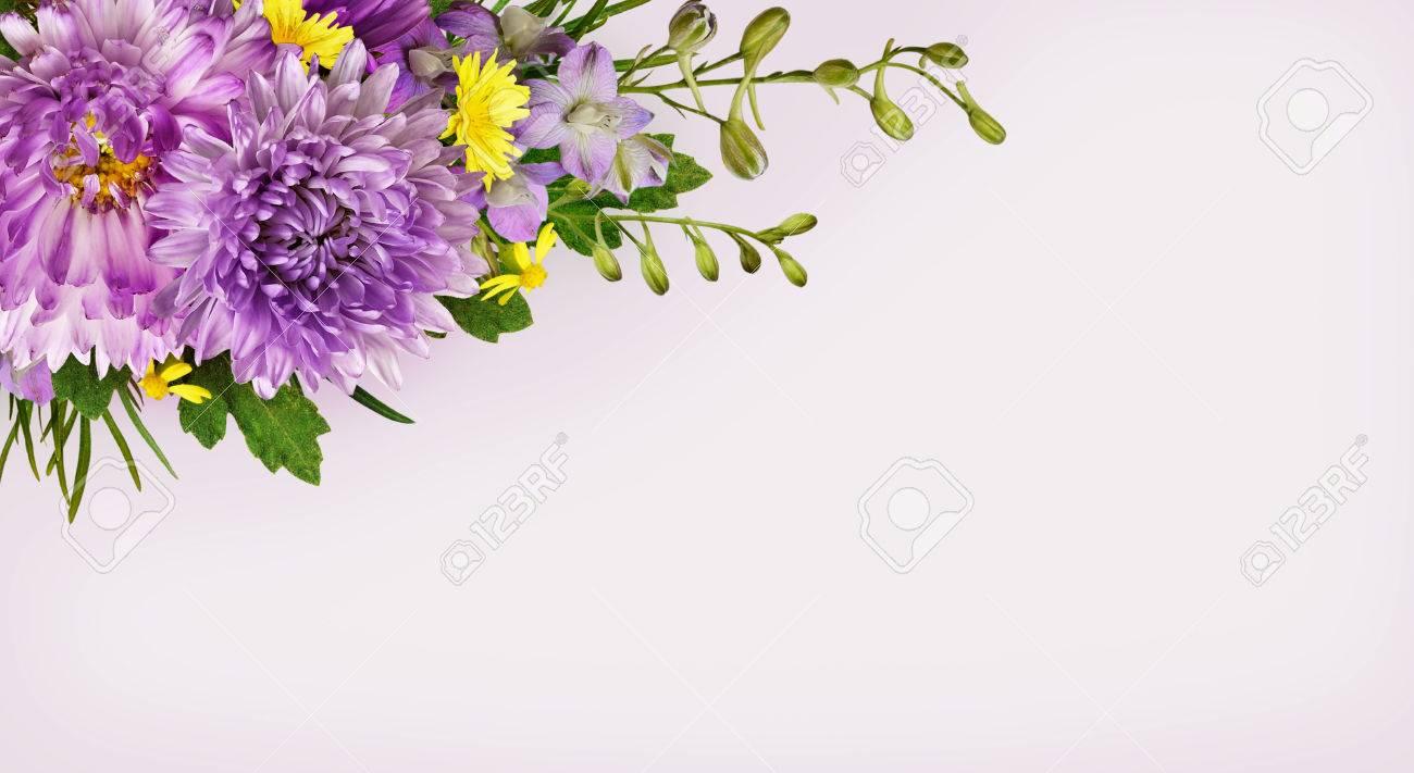 Purple and yellow flowers corner arrangement on gray background purple and yellow flowers corner arrangement on gray background stock photo 55395081 mightylinksfo