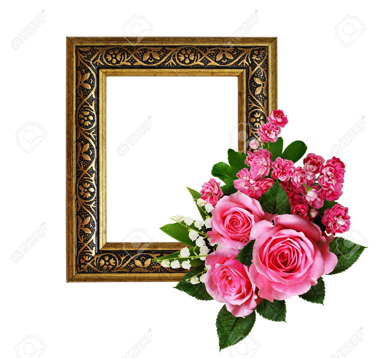 Pink Flowers Arrangement And A Frame For Photo Or Text Isolated
