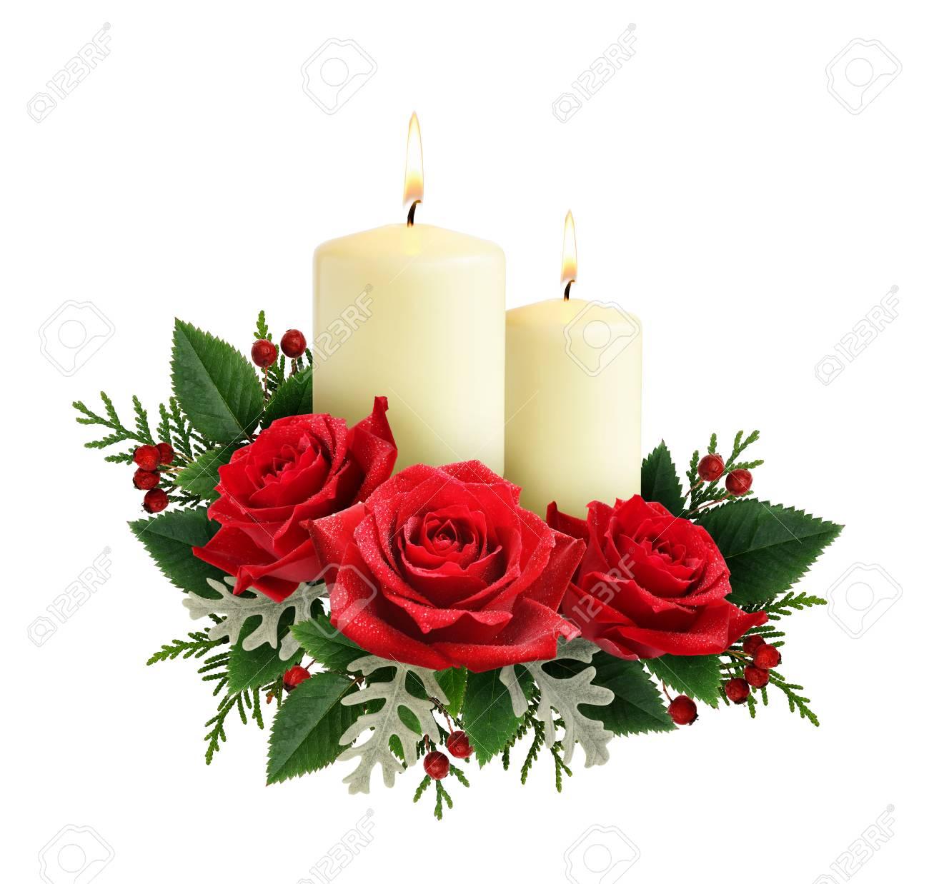 Weihnachten Zusammensetzung Mit Roten Rosenblüten Und Kerzen Auf ...