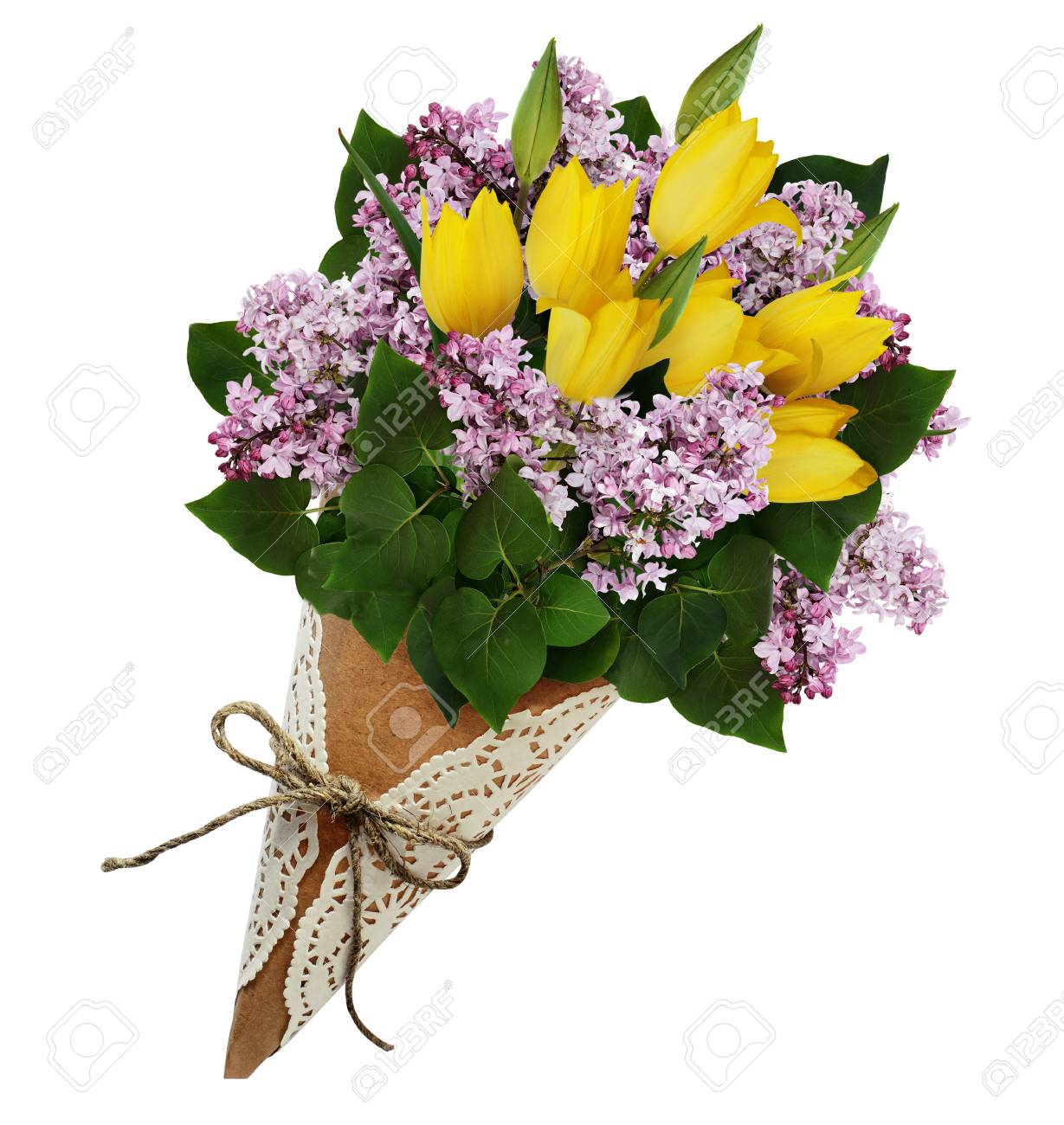 Lilac And Yellow Tulip Flowers Bouquet In A Craft Paper Cornet ...