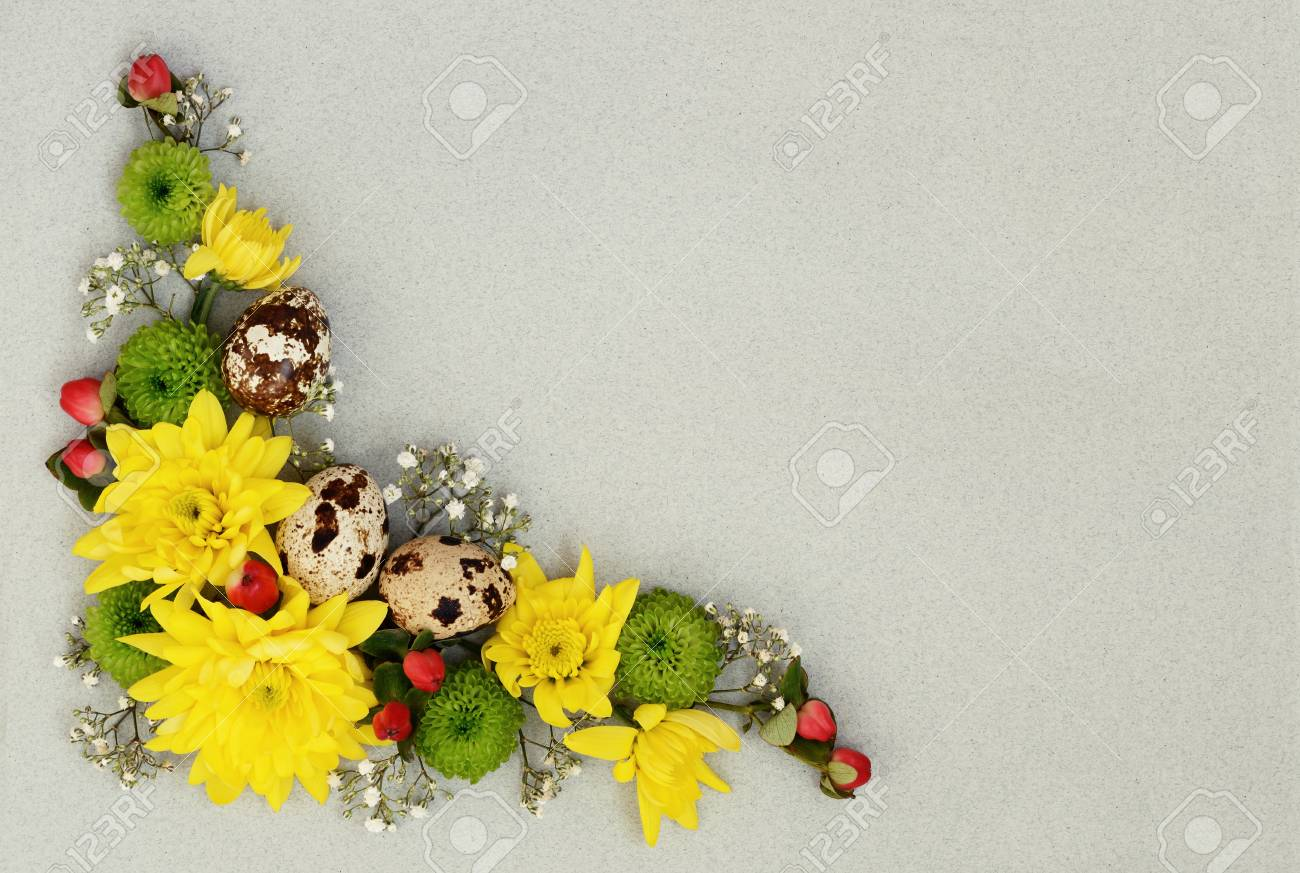 Easter Decorative Corner Of Yellow Green And White Flowers With