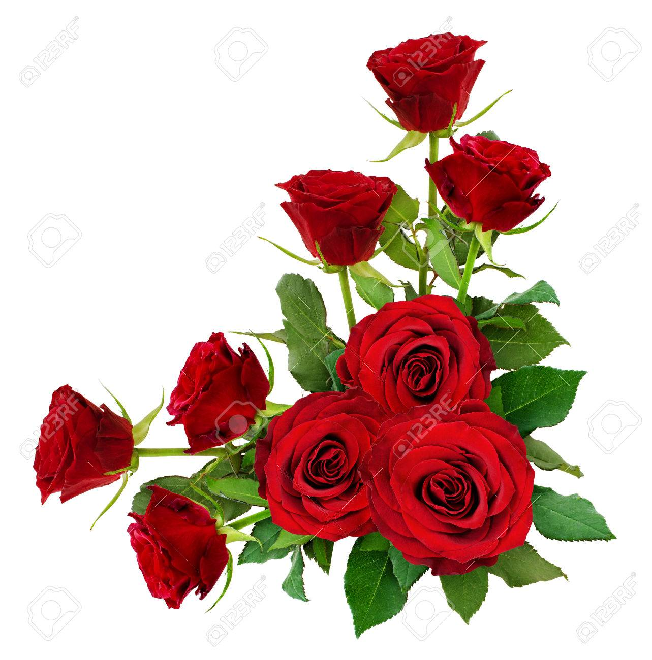 Red Rose Flowers With Leaves In A Corner Arrangement Isolated
