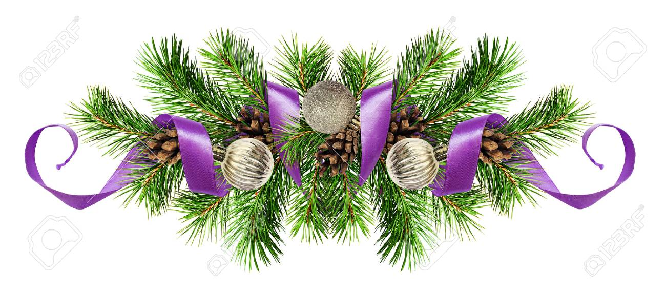 Christmas arrangement with pine twigs, silver balls and purple ribbon isolated on white background - 87652244