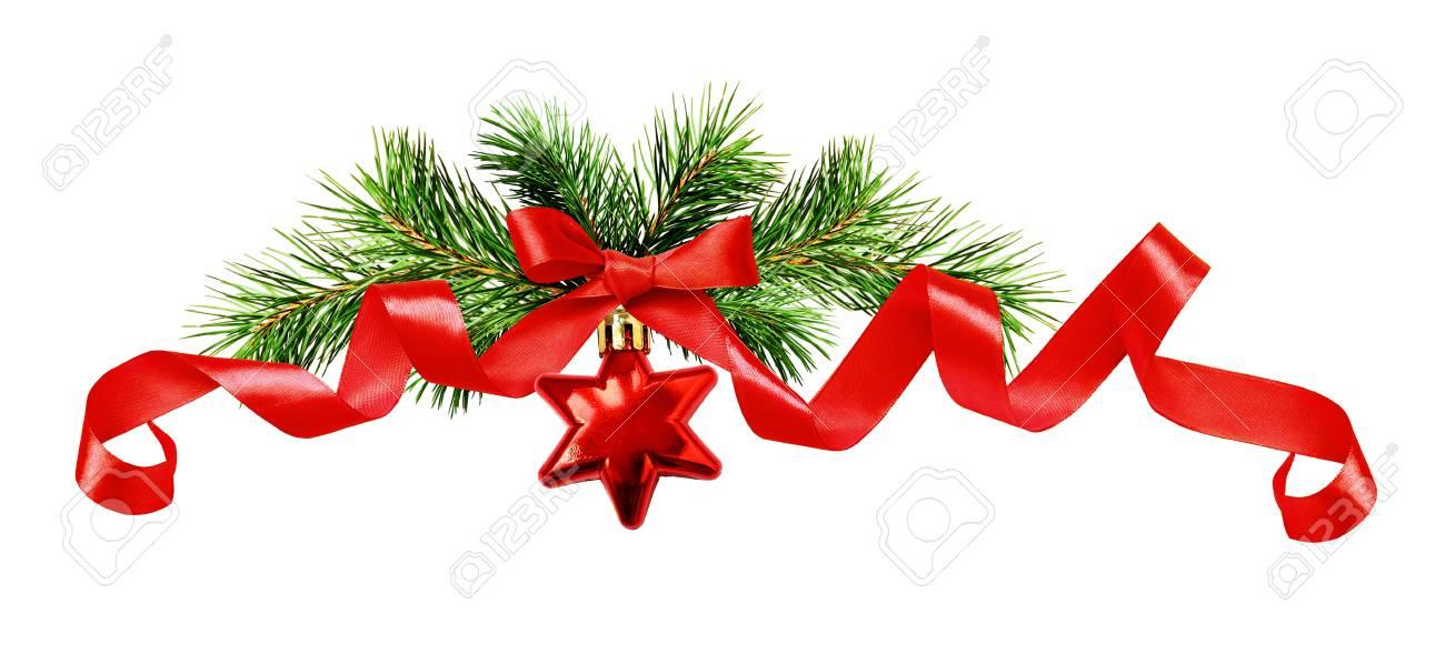 Brindilles De Sapin De Noël étoile Rouge Noeud De Ruban De Soie