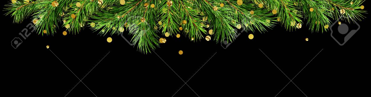 Green Pine Twigs And Golden Confetti For Christmas Top Border Isolated On Black Background Flat