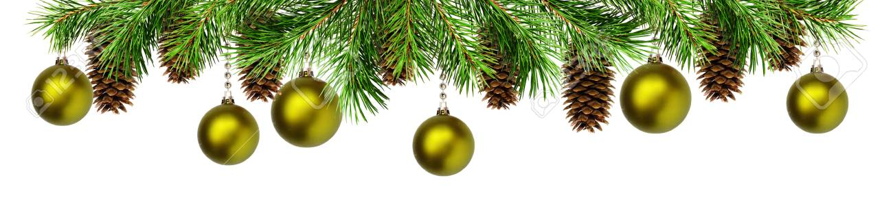 Green Pine Twigs Balls And Cones For Christmas Top Border Isolated On White Background