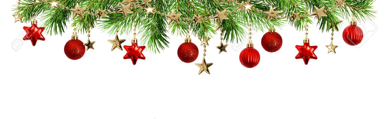 Green Pine Twigs Balls And Garlands For Christmas Top Border Isolated On White Background Stock