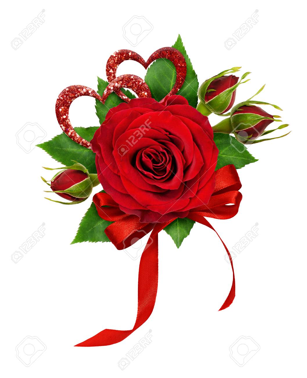Festive Arrangement For Valentine S Day With Red Rose Flower