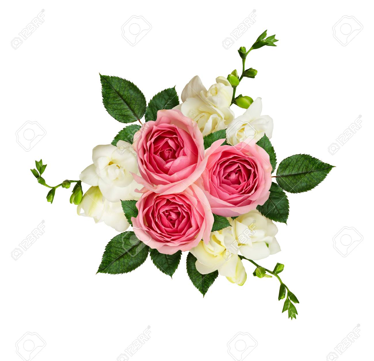 Pink Roses And Freesia Flowers In A Bouquet Isolated On White Stock Photo Picture And Royalty Free Image Image 95076596