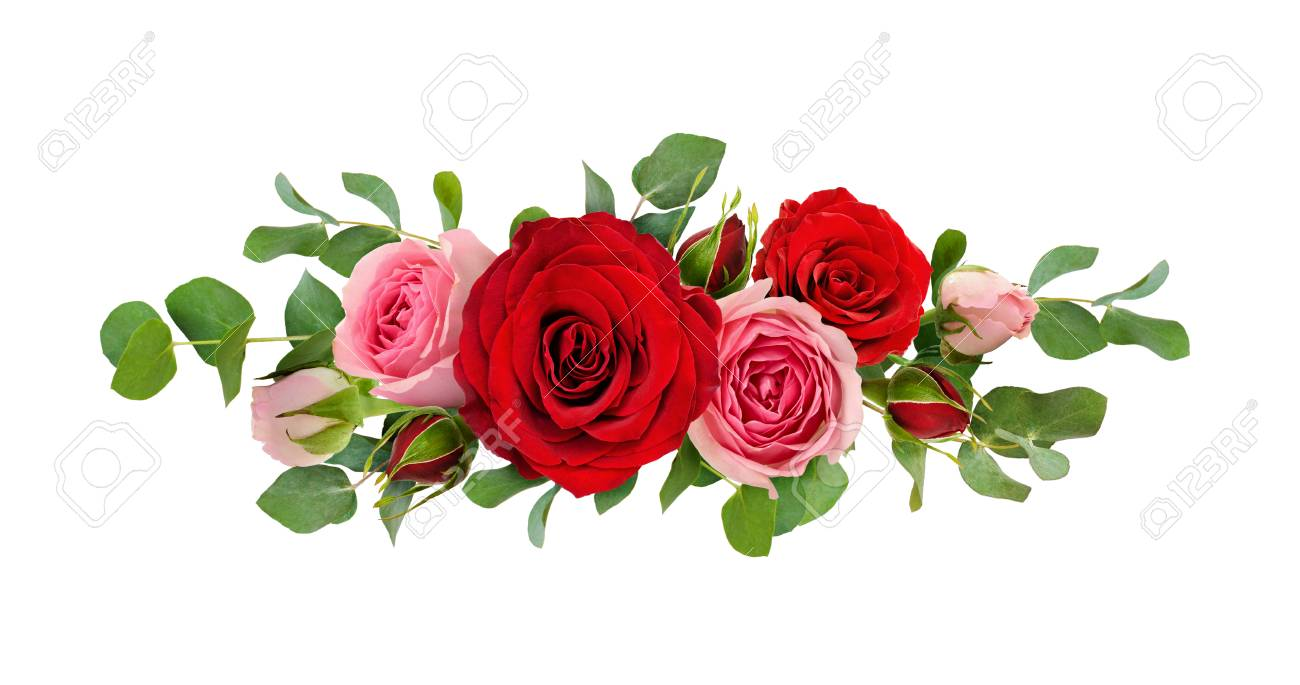 Red And Pink Rose Flowers With Eucalyptus Leaves In A Line